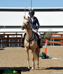 Getting ready to commence her EvA 80 Show Jumping round on her Barbie pony was Ruth McMahon riding Bell Farm Halcyon Gold at the Tamworth One Day Event.