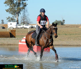 Jacaranda Boy makes a splash through the water in the EvA 60 Open cross country phase with Jennifer Raymond in the saddle.