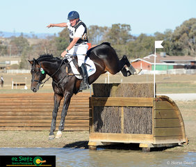 Leaping over the brush rolltop one handed was Heath Ryan riding Wimborne Constable as they competed in the 4* Cross Country Phase of the Tamworth International ODE. .
