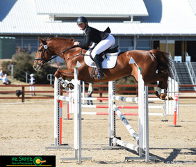 Flying over the jump in the showjumping phase of the CCI4* is Hazel Shannon and her companion Willingapark Clifford at the Tamworth International ODE.
