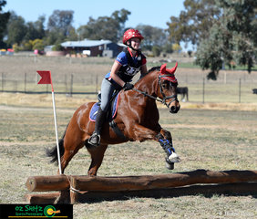 Lauren Grocott and Roufie were matchy matchy in the cross country phase of the EvA 45 competition at the Tamworth International One Day Event.
