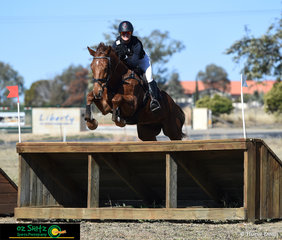 Smiling for the camera during the CCI2* cross country phase was Oz Shotz sponsored rider, Rebel Morrow on Duke of Sussex at the Tamworth International One Day Event.