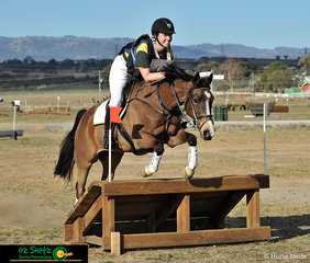 Big smiles for Victoria Temm as Chevalley Park Dollar clears fence 3 in the EvA 80 Open cross country phase of the Tamworth International One Day Event.