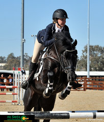 Cathryn Herbert navigates Springs Black Jack around the Show Jumping phase of the CCN1* at AELEC.