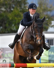 Samantha Morrison from Mutdapilly in Queensland jumped one of just two jump off clears aboard her, 'Corfu' to take second place in the Group C Championship.