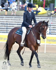 Brett Welsh is pictured aboard the Allstars Performance Horses' talented, 'Annie's Gift'.(Hazelwood Conman/Ottfordvalley Annie) that was declared Champion Working Australian Stock Horse.