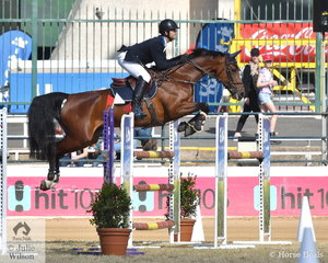Chris Holland from Maroochydore in Queensland is pictured making a lovely jump aboard , 'Elsa' on their way to second place in the Young Rider Championship.