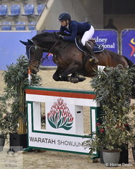 Jennifer Wood and her Cocain Ego Z make a good jump over the difficult Waratah Wall during the Waratah Showjumping CSI 1* 1,40m.