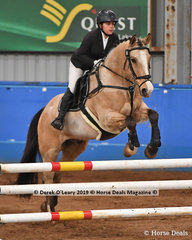 """""""Springwood Junior"""" ridden by Amelia Qvist in the EvA80 Section 5 Showjumping phase"""