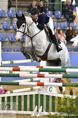 Sally Simmonds rode Chio MS to fourth place in the Suzie and Pip Middleton 1.25 for horses 7 years old.