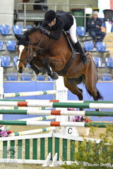 Surprisely Sarah McMillian and Rafiki finished with four faults in the Suzie and Pip Middleton 1.25m for horses 7 years old.