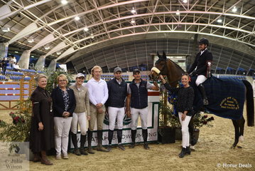 The Waratah Showjumping Grand Prix CSI1*W winner Billy Raymont aboard Anton is seen here with Waratah Showjumping Director Edwena Mitchell and World Cup Sponsor representatives from EMCEE Apparel, J and R Equestrian, Jumping NSW, Orchard Equestrian and the Tripp Family.