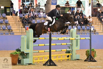 Victorian Paul Brent rode the well performed young stallion, Fontaine Blue VDL to ninth place in The Riders Cup Mini Prix Art. 273.3.3.1.
