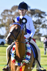 Ayda Paterson riding Karlana Lets Party from Ringwood Pony Club winner of Best Presented then later on went to win Supreme Pony Club Combination