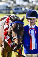 Sienna Bartlett leading Torrensway Portrait Champion Pony Club Junior Handler