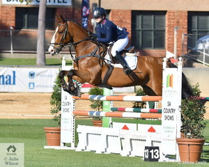From the Pony ring to the jumping arena. Tori Fair from Drysdale in Victoria rode, 'Ramirus' to win the first Junior Jumping class of the show.