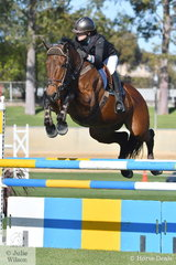 Chloe Mannell from Lake Albert in NSW rode her careful, 'CP Fleur de Lyse' to take second place in the Junior Jumping class today.