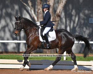 """""""Woodleigh Nijinsky"""" ridden by Joan O...Reilly in the Preliminary 1A placed 2nd with a score of 68.300%"""