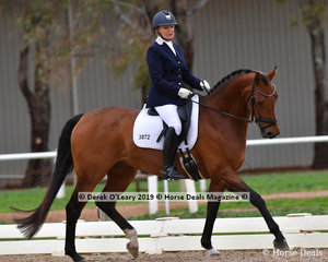 """Wistella"" ridden by Kerryn Connors placed equal 4th in the Medium Championship with a total score of 64 points"