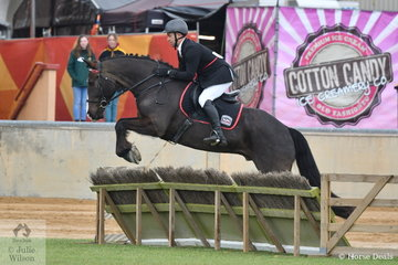 Benn Patch representing the Strathalbyn Hunt Club is pictured aboard, 'Davien Park Charlemagne' is pictured over a panel during the Gentleman's Hunter class.