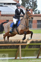 Fifteen year old, Gemma Stapleton is pictured aboard, 'Mt Tawonga Kestrel' during the class for Lady's Hunter.