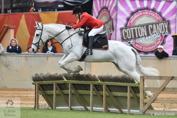 Pat Shaw and, 'Charlie' representing the Fleurieu Hunt Club are pictured making a good jump during the class for Lady's Hunter.