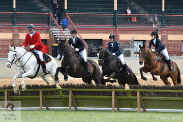 Fleurieu Hunt Club Team 2 is pictured making a well timed jump over this panel in front of the main grandstand.