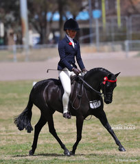 "Joanne Deane's ""Langtree Unique"" was ridden by Ruby Malerba to win The WALFAM INVESTMENTS Small Pony Championship."