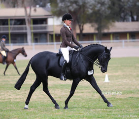 """Jess Stones riding The SNOWY RIVER LODGE MOTEL Champion Small Show Hunter Galloway exhibit """"Gentry Park Take Note"""", exhibited by Sara Osaulenko and J&R Equestrian."""