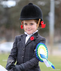 Reserve Champion in The EQUISSENTIALS Rider 6 & under 9 years event - Sienna Jessop.