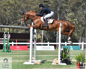 Samantha Morrison rode her, 'Biarritz' to take fourth place in the Lennock Motors Grand Prix Warm Up class on day two of Jumping At Willinga Park.