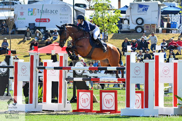 Reigning Australian Show Jumping Champion, Amber Fuller is pictured putting in a first round clear for the Chatham Park team aboard, 'CP Aratino'.