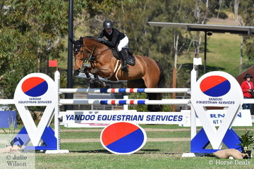 Successful Young Rider, Olivia Hamood from Queensland jumped a good first round clear for the Takapoto Estate NZ team riding her ,'Jane Fonda DVD'.