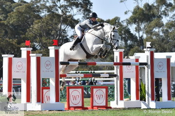 Jess Brown riding for Team Horsepower is pictured her lovely, 'Casco' making a beautiful jump during the inaugural round of the Australian Teams Jumping League.