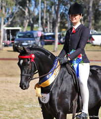 """Courtney Cremasco rode Elsie Rieger's """"Pickwick Park Mr Darcey"""" to win Champion Newcomer Large Pony."""