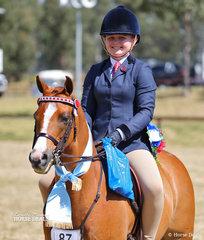 "Ellie Rudder and ""Mirinda Matinee Magician"" won the Owner/Rider Medium Pony Championship."