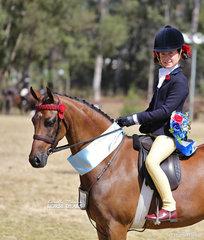 "Open Medium Pony Champion ""Braeburn Park Spring Dance"" and Annabelle Richardson."
