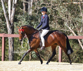 """Joanne Stewart and """"Kolbeach Jemima"""" pictured during the workout for the Open Large Pony Championship."""