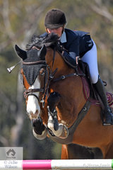 Talented young rider and law student from the ACT, Izabella Stone jumped a good four penalty first round in the Fielder's Roofing Mini Prix aboard her 'Colina 54'.
