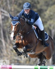 Brooke langbecker rode her imported, 'Beijing LS La Silla' to eighth place in the Fielder's Roofing Mini Prix today.