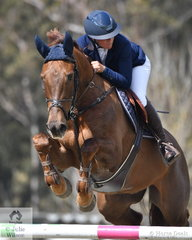 Jennifer Wood jumped a good double clear riding her , 'Cassandro B' to take tenth place in the Fielder's Roofing Mini Prix today.