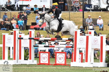 Billy Raymont demonstrated why he has such a huge reputation in the showjumping world. He jumped a sizzling jump off round riding 'Anssioso Z' to win the Fielder's Roofing Mini Prix today.