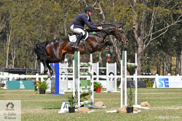 Paul Brent from the Yarra Valley in Victoria has just stepped up to Grand Prix level with his own and Neil Clinton's imported stallion, 'Fontain Blue VDL' that looked super during the Willinga Park Grand Prix today.