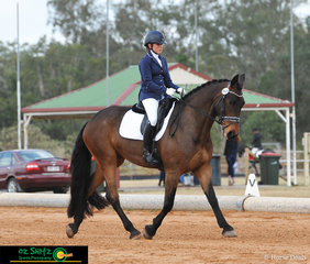Looking flash in the AAOR Preliminary 1B test is Alexandria Leppien and Djedi, competing at the 2019 QLD State Dressage Championships held at the Queensland State Equestrian Centre.