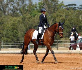 Strutting their stuff in the AAOR Preliminary 1B class is Nancy Baretta and Whw Freya Rose, on day 1 of the QLD State Dressage Championships.