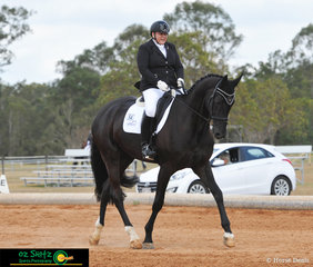 Competing in the AAOR Preliminary class on day 1 of the QLD State Dressage Championships held at the Queensland State Equestrian Centre is Rebecca Haigh and Chapplehurst Furstenroy.