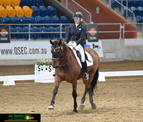 Brilliant horse and rider combo San Rhythmic and Elloise Devlin executed a fantastic test in the Open Prix Saint George on day 1 of the QLD State Dressage Championships to put them in a very respectable second place.