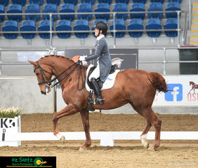 Working as a team in the Open Intermediate II class is Anita Barton and Jaybee Jaffa, competing at the 2019 QLD State Dressage Championships, held at the Queensland State Equestrian Centre.