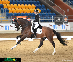 With a very expressive and uphill canter in the Open Intermediate II, Jemma Heran and her horse Hedelunds Mefisto show what they are made of at the QLD State Dressage Championships