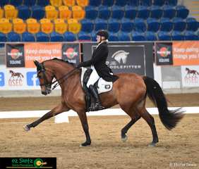 Showing just how powerful an extended trot can be is A Spider Bite with rider Sally Evans, competing in the Open Intermediate II on day 1 of the 2019 Queensland State Dressage Championships.